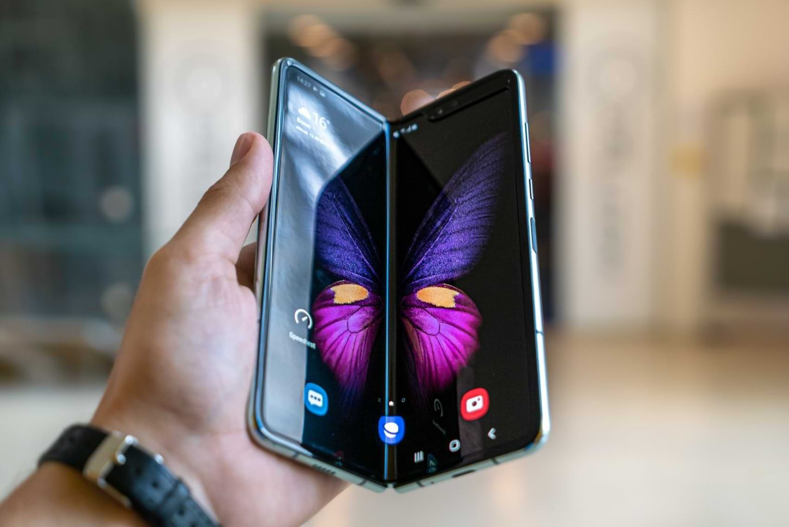 A person holds a Samsung Galaxy Z Fold device, one of Samsung's new Galaxy phones which was recently reworked and unveiled.