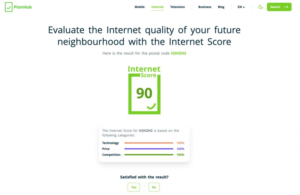 What Is Your Internet Score? Screenshot of Planhub Website Internet Score page